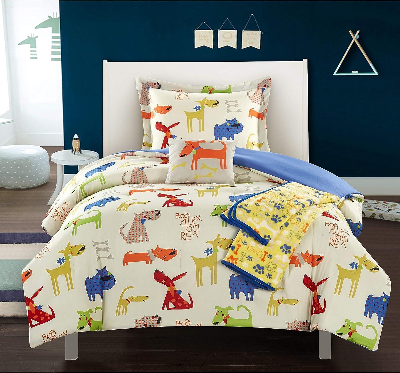 4 Piece Dog Twin Comforter Set Puppy