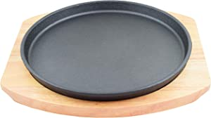 "Round Cast Iron Set W/Rubber Wood Underliner For Making Pizza, Sizzling meat (11"")"