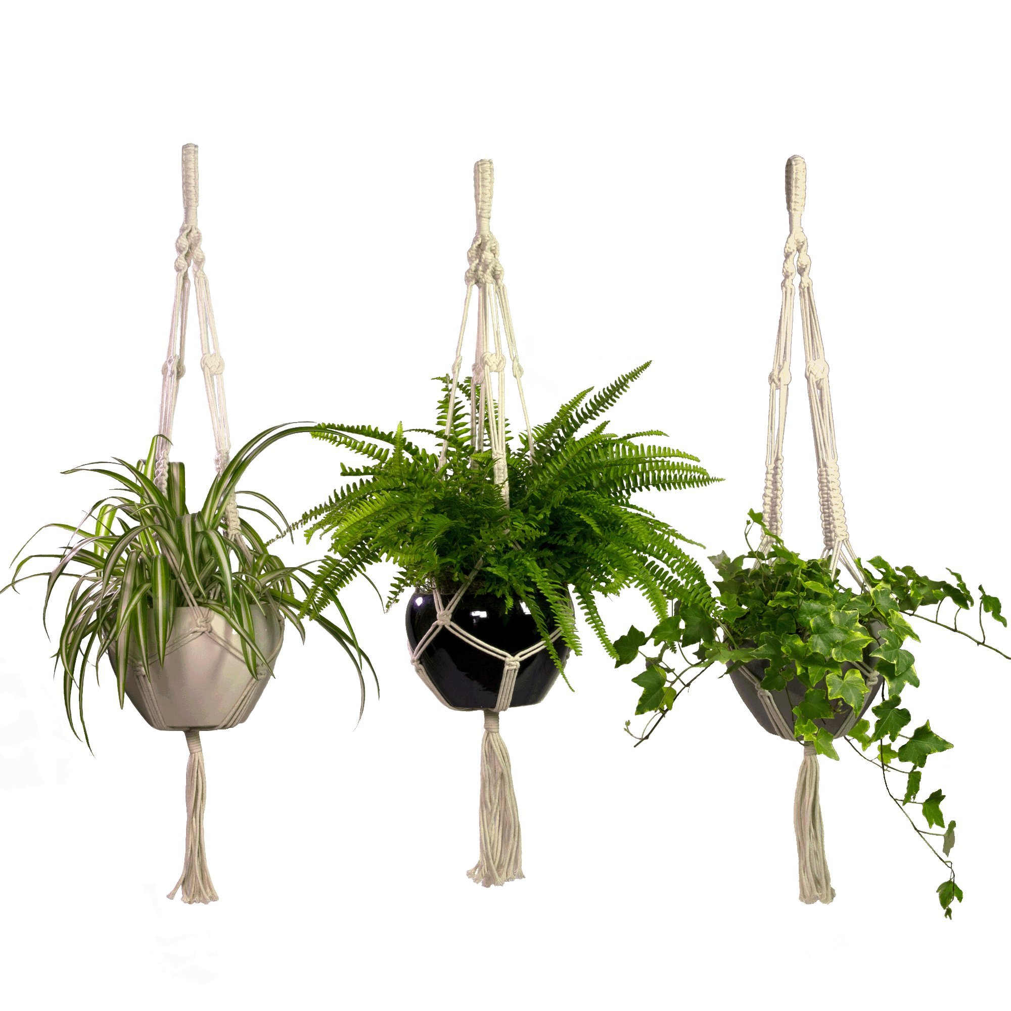 Macrame Plant Hangers 3 Pack Set Large Outdoor Indoor Planter Holders- Handmade Natural Cotton Rope for Decorative Balcony, Garden, Patio by CesuraPro- 2 Years Warranty