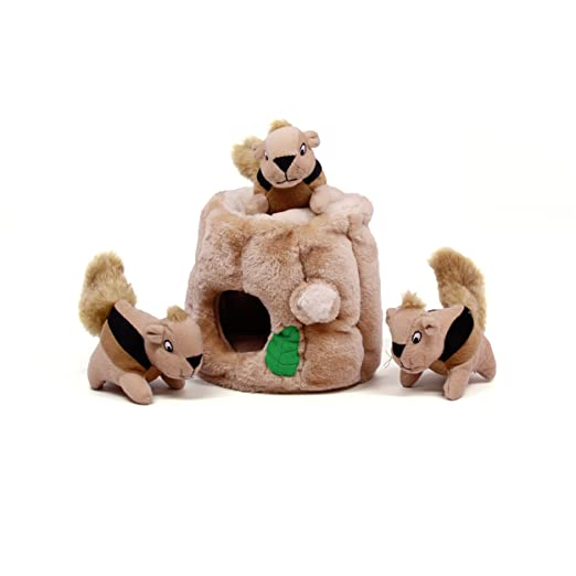 Hide a Squirrel Fun Hide and Seek Interactive Puzzle Plush Dog Toy by Outward Hound
