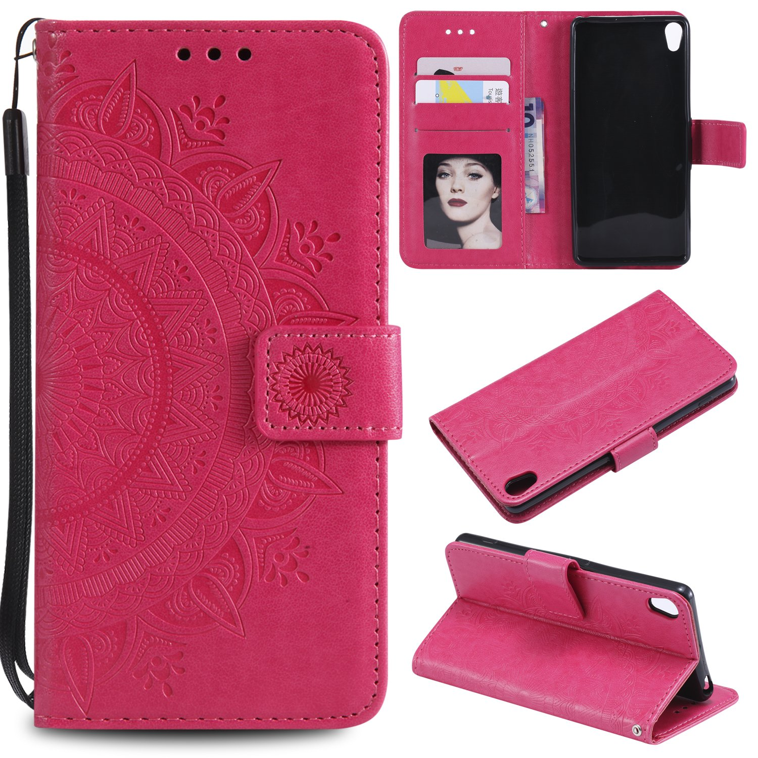 Sony Xperia XA1 Case [Totem Flower], Lomogo Leather Wallet Case with Kickstand Card Holder Shockproof Flip Case Cover for Sony Xperia XA1 - LOHHA10780 Rose Gold
