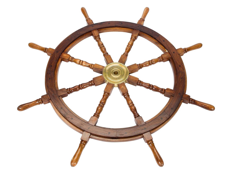 Schiffssteuerrad Holz Durchmesser 105cm