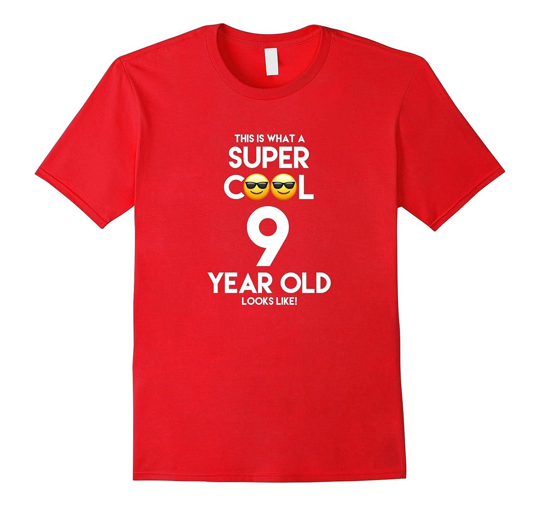 9 Year Old Cool Emoji Birthday BoyGirl Tshirt