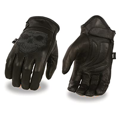 Men's Leather Motorcycle Glove w/ Reflective Skull Design & Gel Palm (Large): Automotive