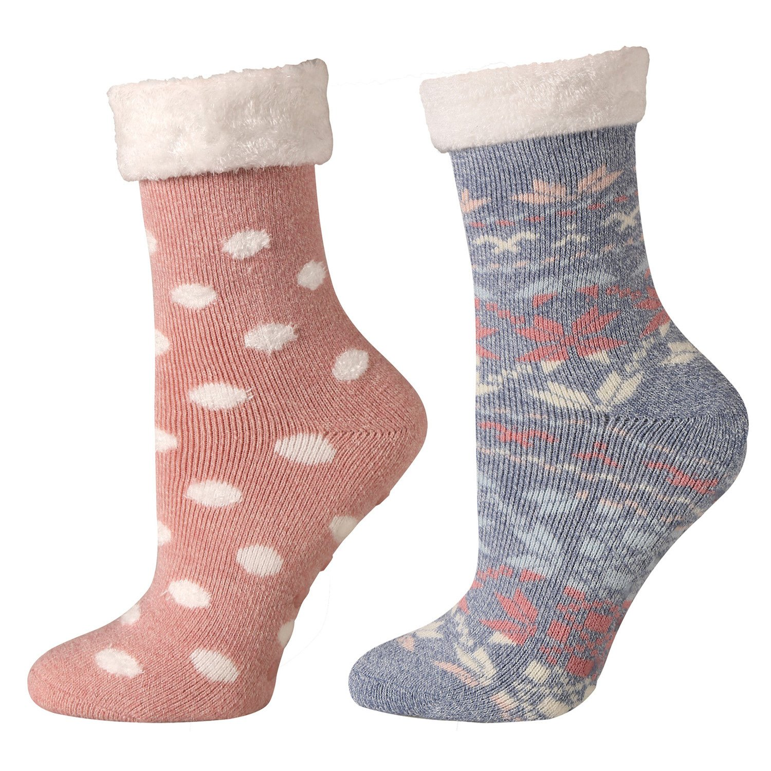 Womens Socks - Cabin and Lounge Print with Rubber Soles - Set of 2 Pink