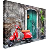 Red Scooter Vespa Style | 20x30 Canvas Wall Art Print - Long Lasting High Quality Wooden Frames