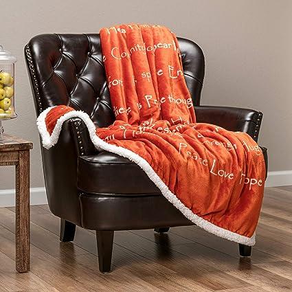Home Bedding Chanasya Warm Hugs Positive Energy Healing Super Soft Sherpa Microfiber Blankets Home, Furniture & DIY
