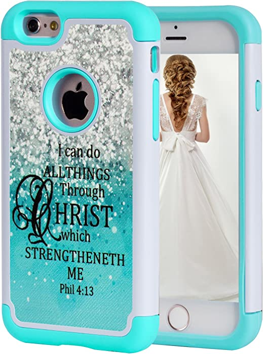 iPhone 6S Case,iPhone 6 Case Christian Quotes,SKYFREE Bible Verse Philippians 4-13 [Shockproof] Hybrid Dual Layer Silicone Plastic Armor Defender Protective Case Cover for Apple iPhone 6 /6S 4.7 inch