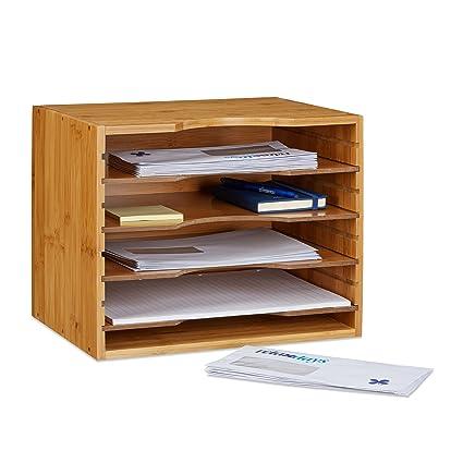 Relaxdays Bandeja para cartas de bambú 26.5 x 33.5 x 24.5 cm sistema de almacenamiento con 5 compartimentos, color natural
