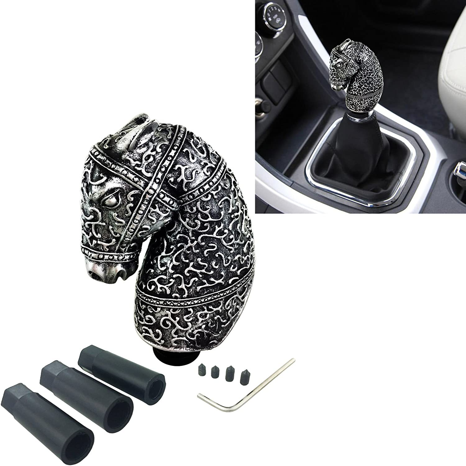 Arenbel Gear Lever Knob Stick Shifting Shifter Shift Handle fit Most Manual Automatic Vehicles Black