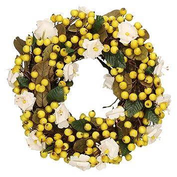 Beerenkranz Gelb Kranz Mit Bluten Und Beeren Blumenkranz Deko