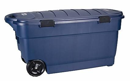 Rubbermaid Roughneck ToteLocker Wheeled Storage Container, Dark Indigo  Metallic, 45 Gallon (FG246300DIM