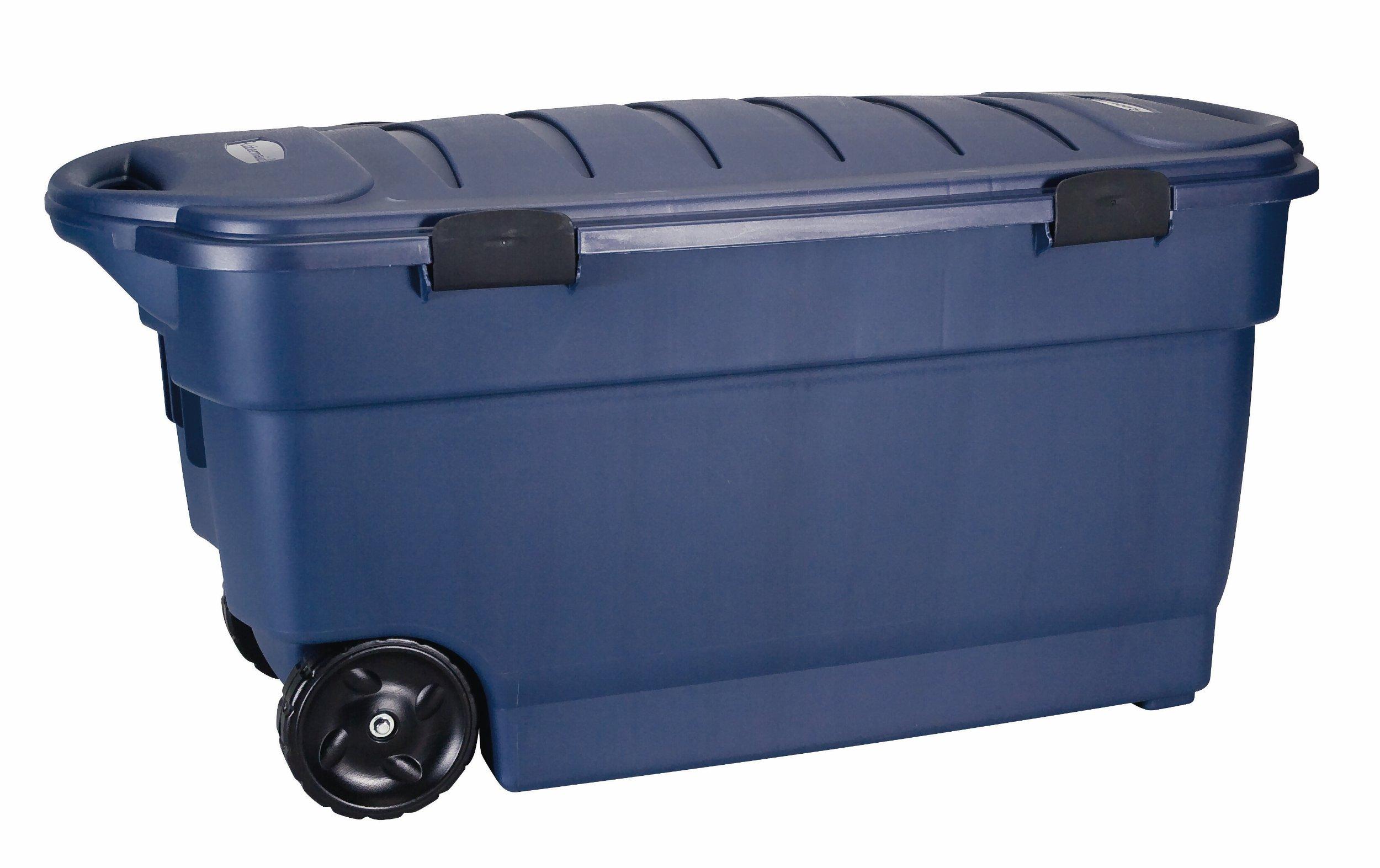 Rubbermaid Roughneck ToteLocker Wheeled Storage Container, Dark Indigo Metallic, 45-gallon (FG246300DIM)