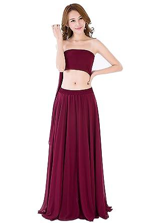 a00babd2be90a Sinreefsy Women Summer Chiffon High Waist Pleated Big Hem Full/Ankle Length  Beach Maxi Skirt