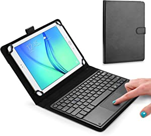 Cooper Touchpad Executive Keyboard Case for 9, 10, 10.1, 10.5 Inch Tablets | 2-in-1 Bluetooth Wireless Keyboard with Touchpad and Leather Folio (Black)