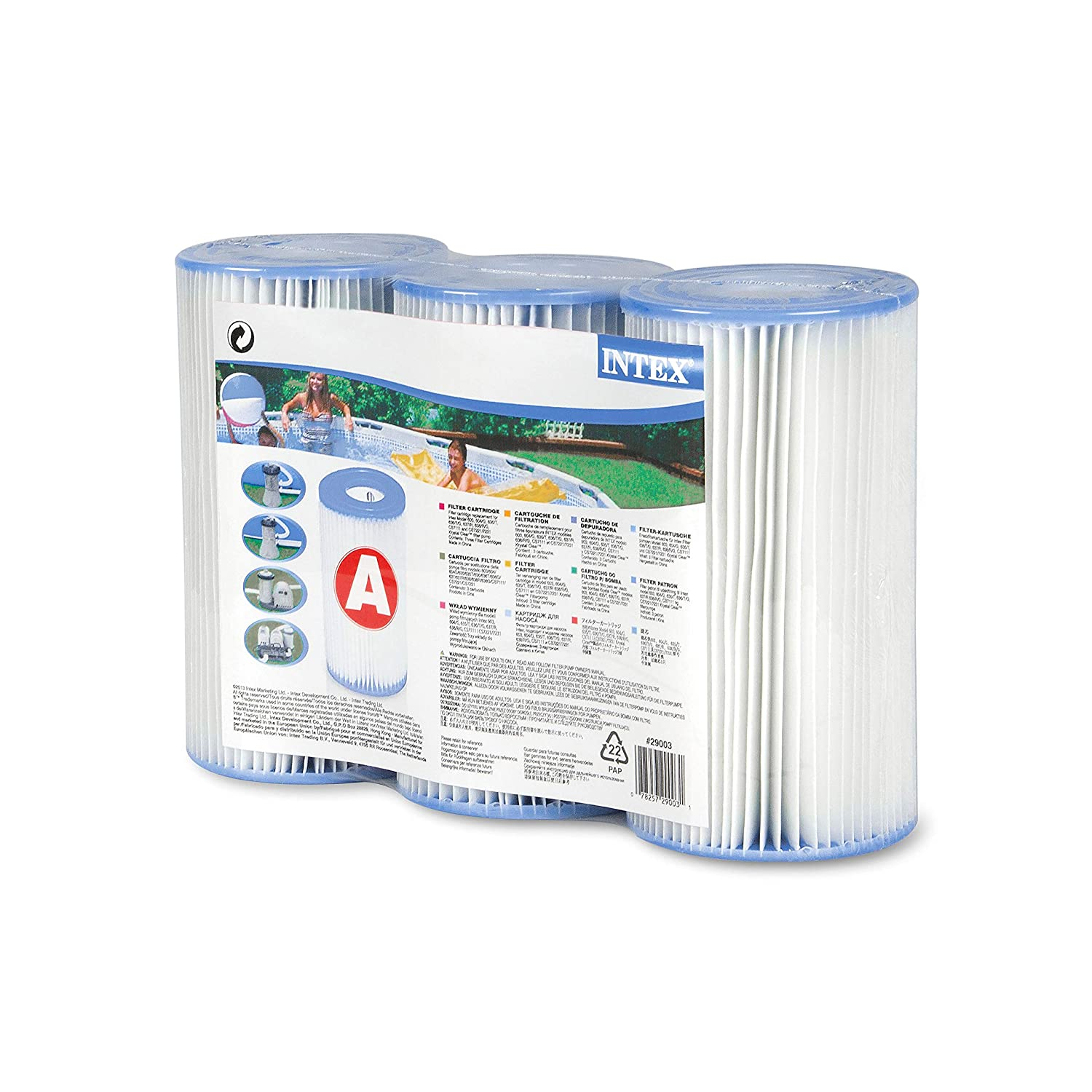 Intex Type A Filter Cartridge for Pools, Three Pack