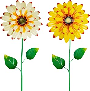 Juegoal 2 Pack Metal Flower Garden Stakes Decor, 24 Inch Outdoor Colorful Sunflowers Shaking Head Yard Art, Rust Proof Metal Daisy Flower Stick, Indoor Outside Pathway Patio Yard Lawn Decorations