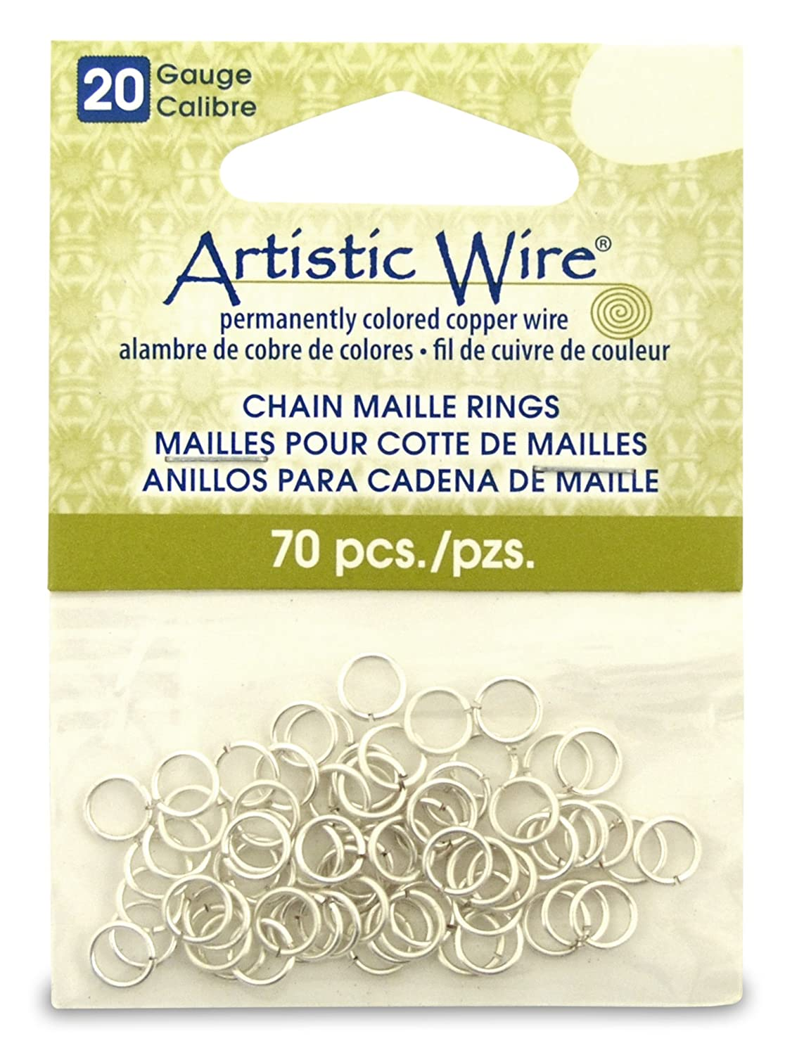 Artistic Wire Beadalon 9/64-inch 70 Piece 18-Gauge Non-Tarnish Chain Maille Rings, Silver A314-18S-10-05