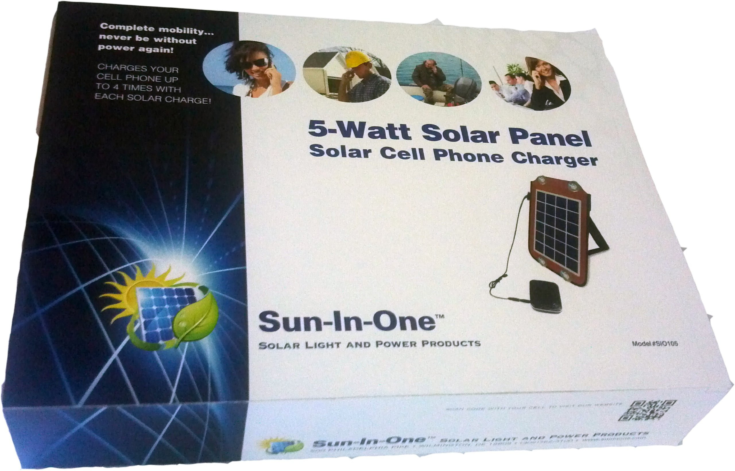 5 Watt Solar Cell Phone Charger. Includes: 5200mAh rechargeable battery, Fabric case with pouches, Suction cups for windshield mounting, Velcro straps for backpack mounting, Stand, AC adapter & variety of charging outputs. Charges Most Cell Phones with US by Sun-In-OneTM