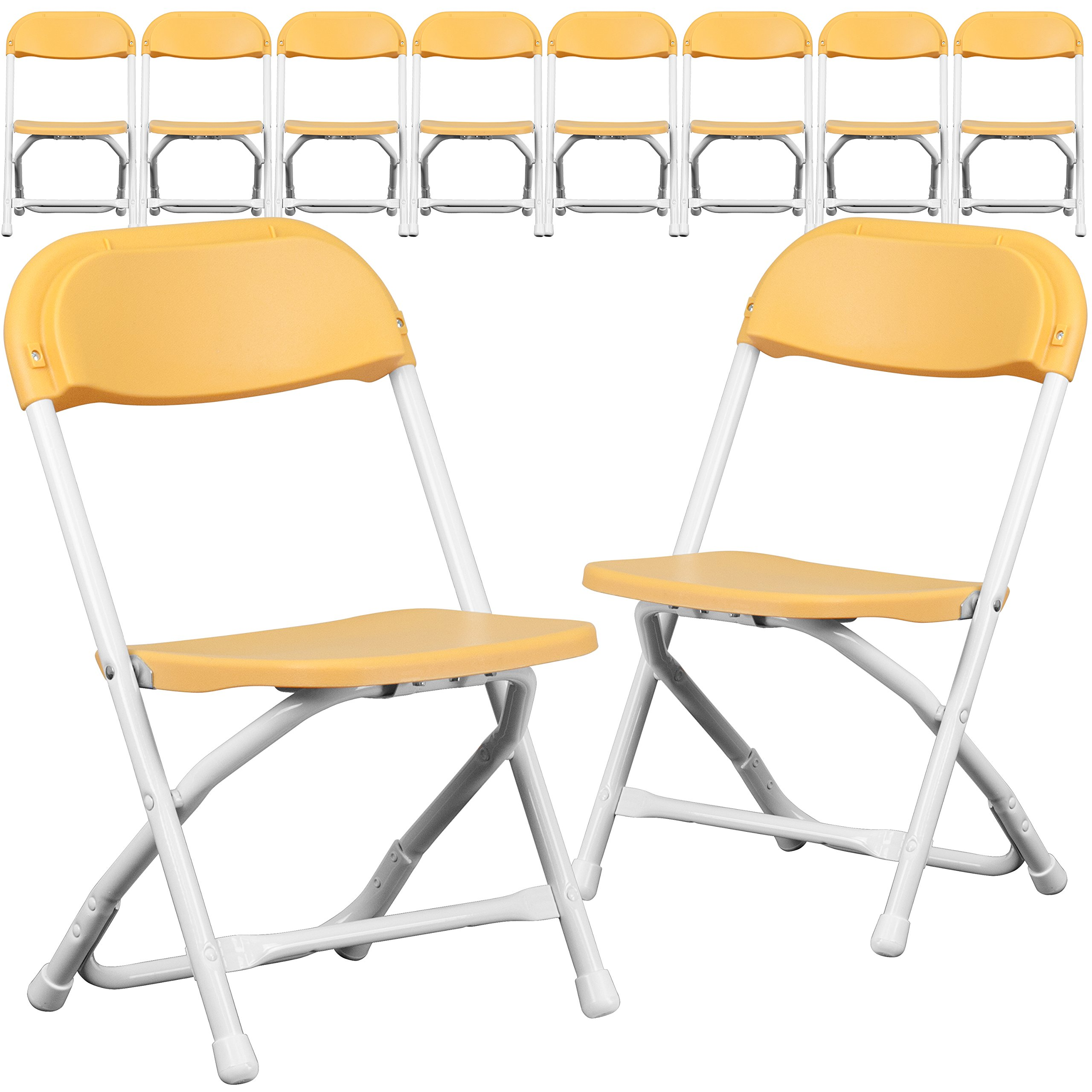 Flash Furniture 10 Pk. Kids Yellow Plastic Folding Chair