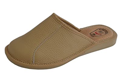 c3ff6f6ff727 Womens Ladies Natural Leather Slippers Mules  Amazon.co.uk  Shoes   Bags