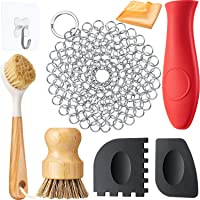 8 Pieces Cast Iron Cleaner Set Include Stainless Steel Chainmail Scrubber with Bamboo Long Handle Dish Scrub Brush Hot…