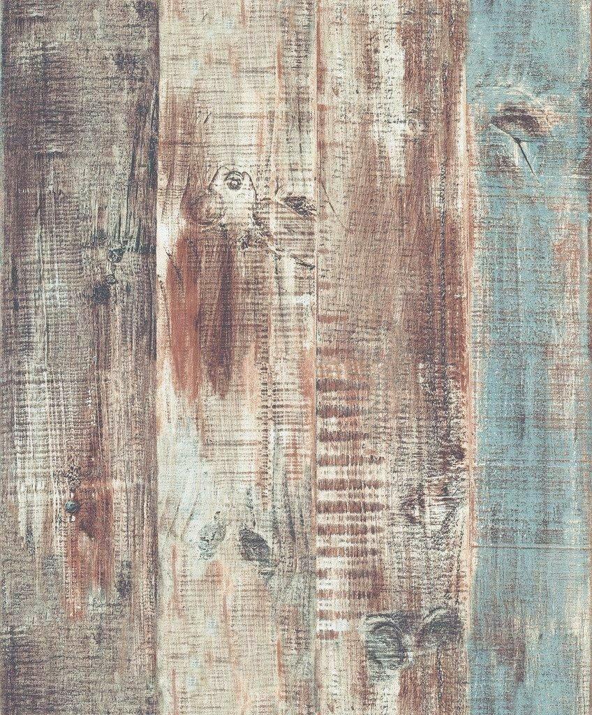 Blooming Wall Vintage Wood Panel Wood Plank Wallpaper Wall Mural For Livingroom Bedroom Bathroom 20.8 In*32.8 Ft=57 Sq.ft,Tan//Blue//Brown//Gray by Blooming Wall