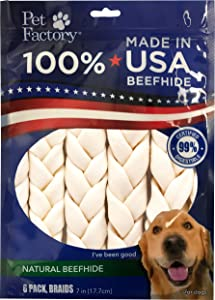 Pet Factory 78701 Beefhide | Dog Chews, 99% Digestive, Rawhides to Keep Dogs Busy While Enjoying, 100% Natural Flavored Braids, Pack of 6 in 7- 8