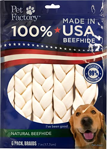 Pet Factory 78701 Beefhide Dog Chews, 99 Digestive, Rawhides to Keep Dogs Busy While Enjoying, 100 Natural Flavored Braids, Pack of 6 in 7-8 Size, Made in USA