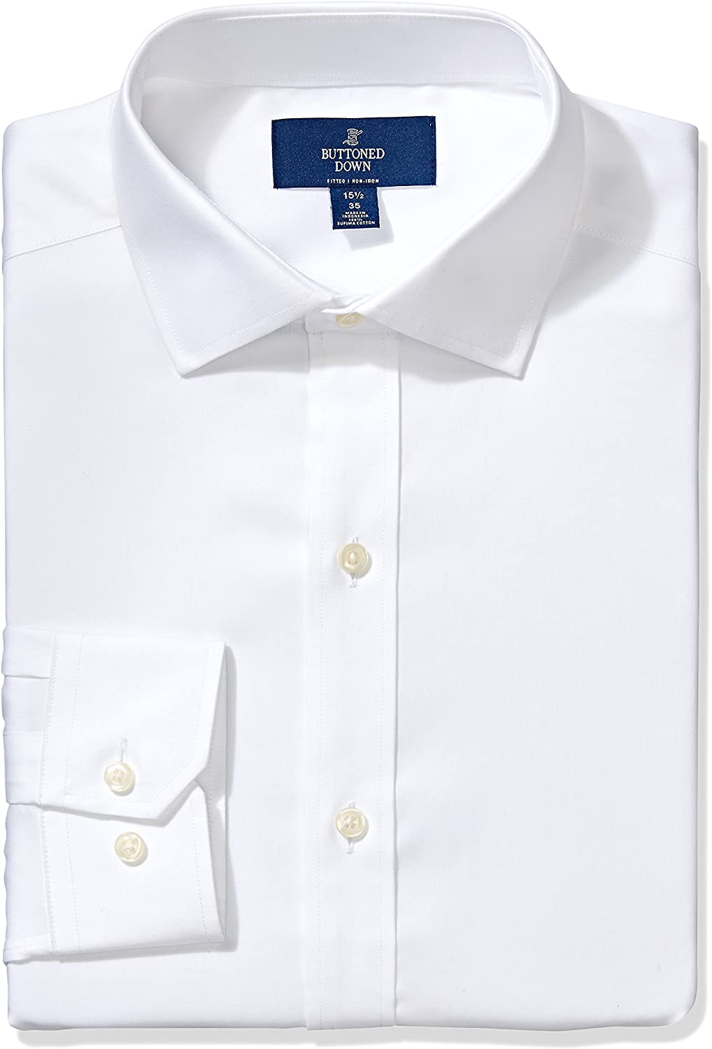 Amazon Brand - BUTTONED DOWN Men's Fitted Solid Pinpoint Dress Shirt, Supima Cotton Non-Iron