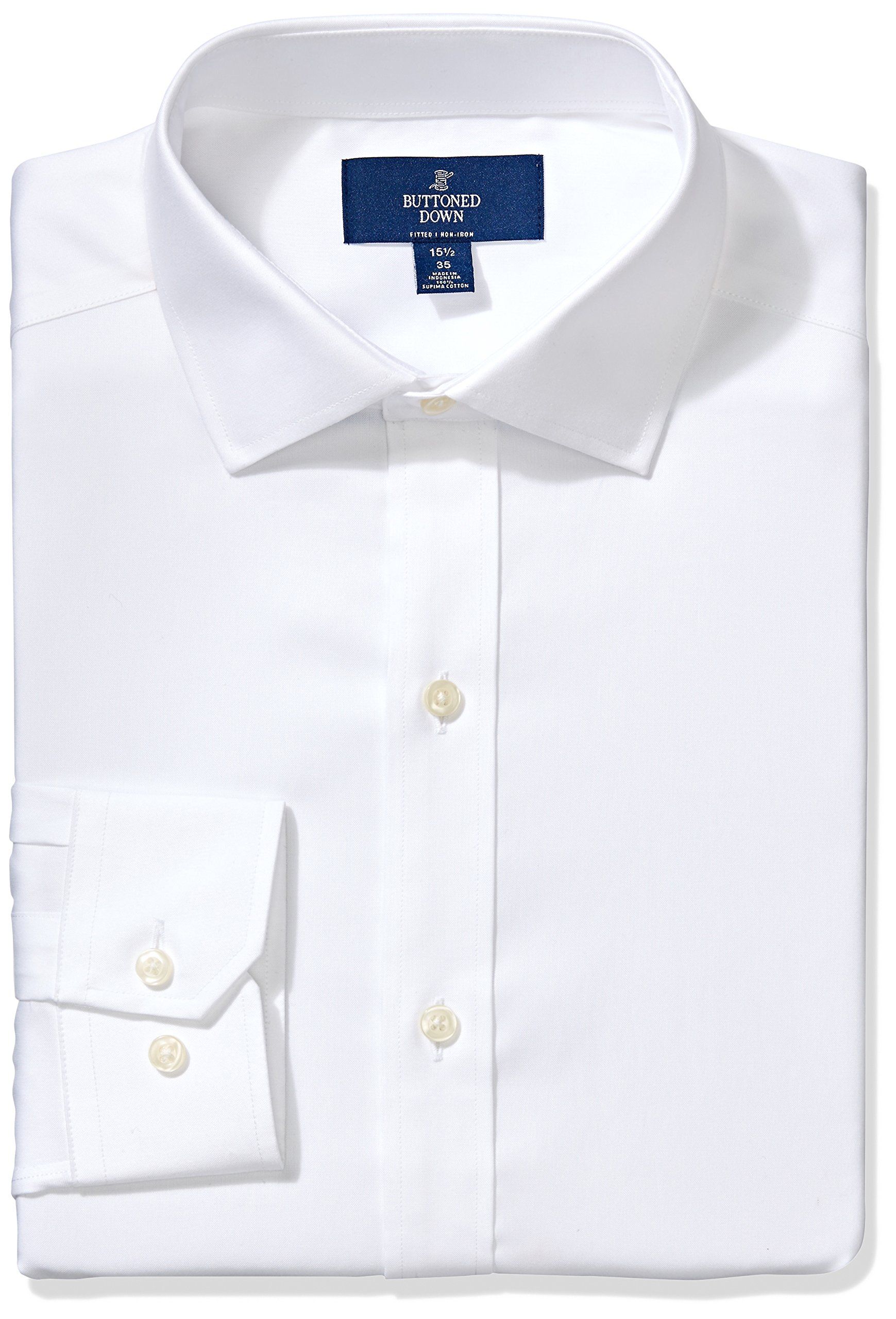 Buttoned Down Men's Fitted Spread-Collar Non-Iron Dress Shirt, White, 17.5'' Neck 35'' Sleeve