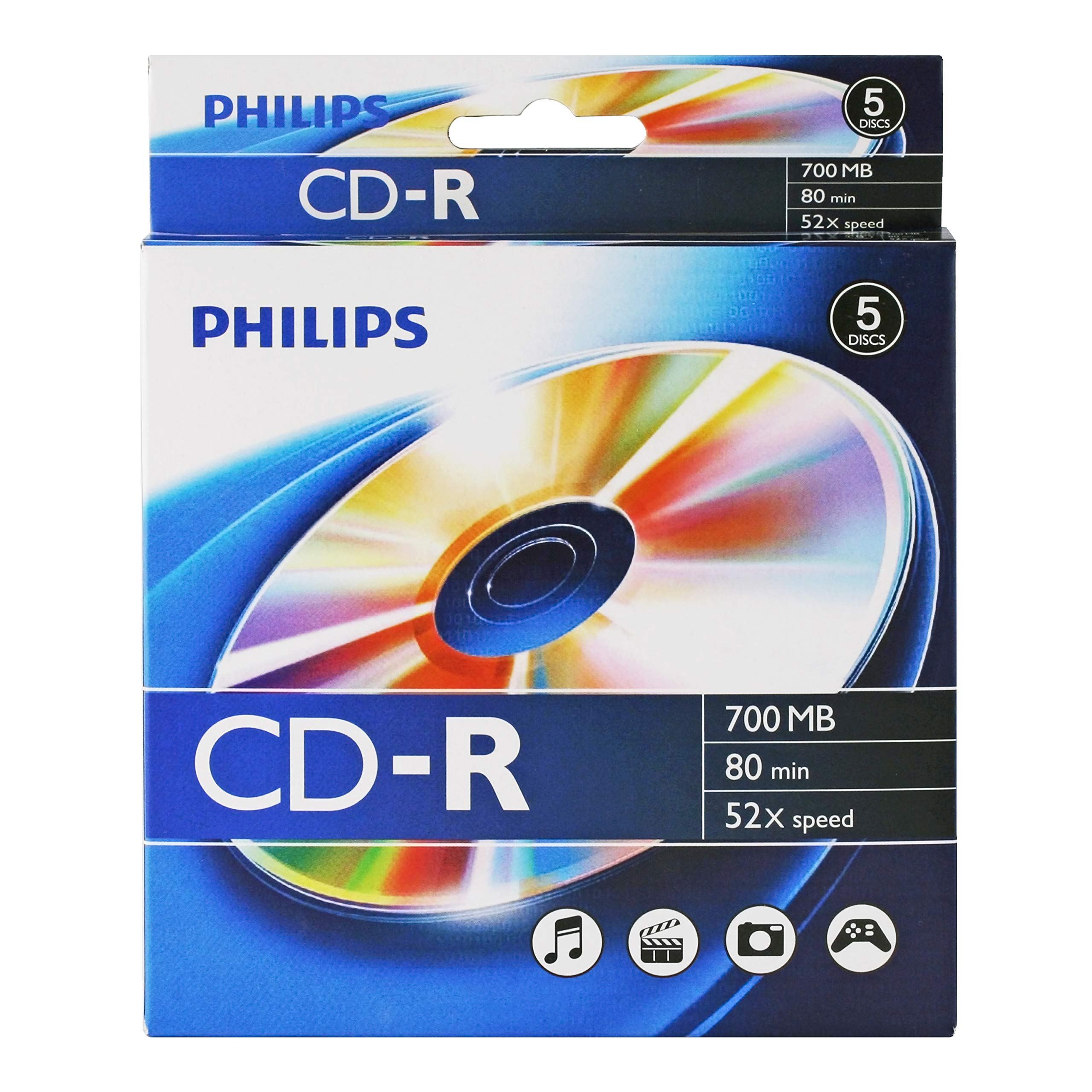 Philips CD-R 52x Logo Top in 5pk peggable Box