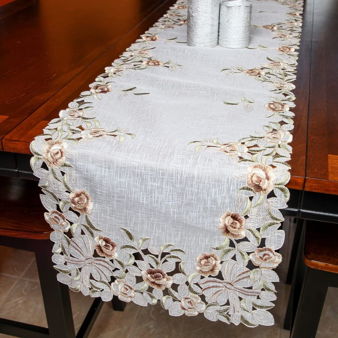 Home-X Embroidered Floral Organza Table Runner. Sage Green and Light Brown Flowers