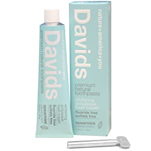 Davids Natural Toothpaste, SPEARMINT, Whitening, Antiplaque, Fluoride Free, SLS Free, 5.25 OZ Metal Tube, Tube Roller Included