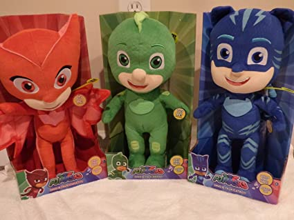 "PJ Masks Sing Talk Light Up 14"" Bundle of 3 Owlette, Gekko & Catboy"