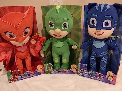 "PJ Masks Sing Talk Light Up 14"" Bundle of 3 Owlette, Gekko & Catboy"