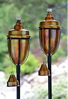 H Potter Copper Torches Rustic Patio Outdoor Garden Torch Set Of Two
