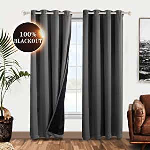 WONTEX 100% Grey Blackout Curtains for Bedroom 52 x 84 inches Long - Thermal Insulated, Noise Reducing, Sun Blocking Lined Window Curtain Panels for Living Room, Set of 2 Grommet Winter Curtains