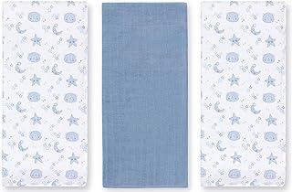 Petite Stars Design 56306214–Pack von 3muselinas, Bear, 80x 80cm, weiß/pink