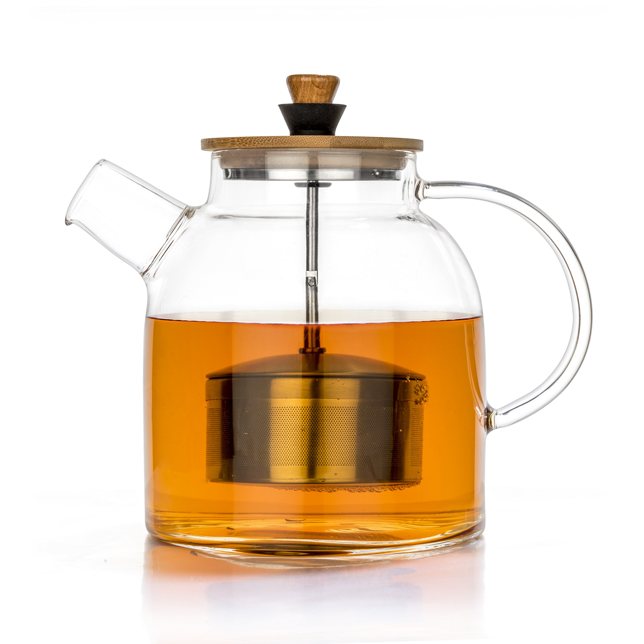 Tealyra - Glass Kettle 47-ounce - Stove-top Safe - Heat Resistant Borosilicate - Pitcher - Carafe - Teapot with Stainless Steel Infuser - No-Dripping - Tea Juice Water - Hot and Iced - 1400ml