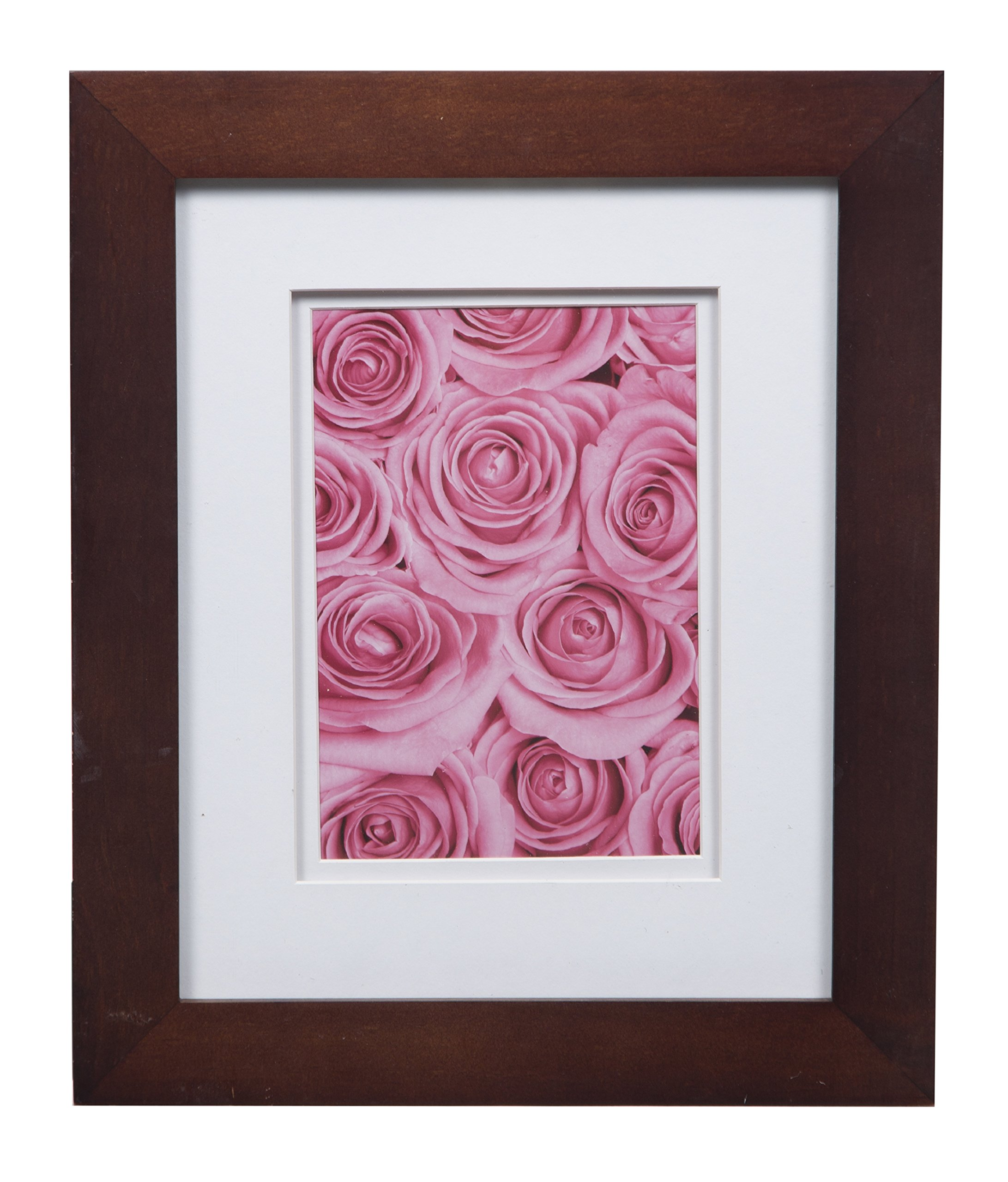 Gallery Solutions Flat Tabletop or Wall Picture White Photo 8X10 Walnut Double Frame, MATTED to 5X7, 8'' x 10'', by Gallery Solutions
