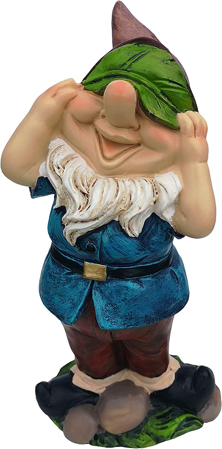 """Outdoor Gnome Statue for Lawn Decoration Garden Sculpture Resin Gnome Cover Eyes 6.3"""" Tall"""