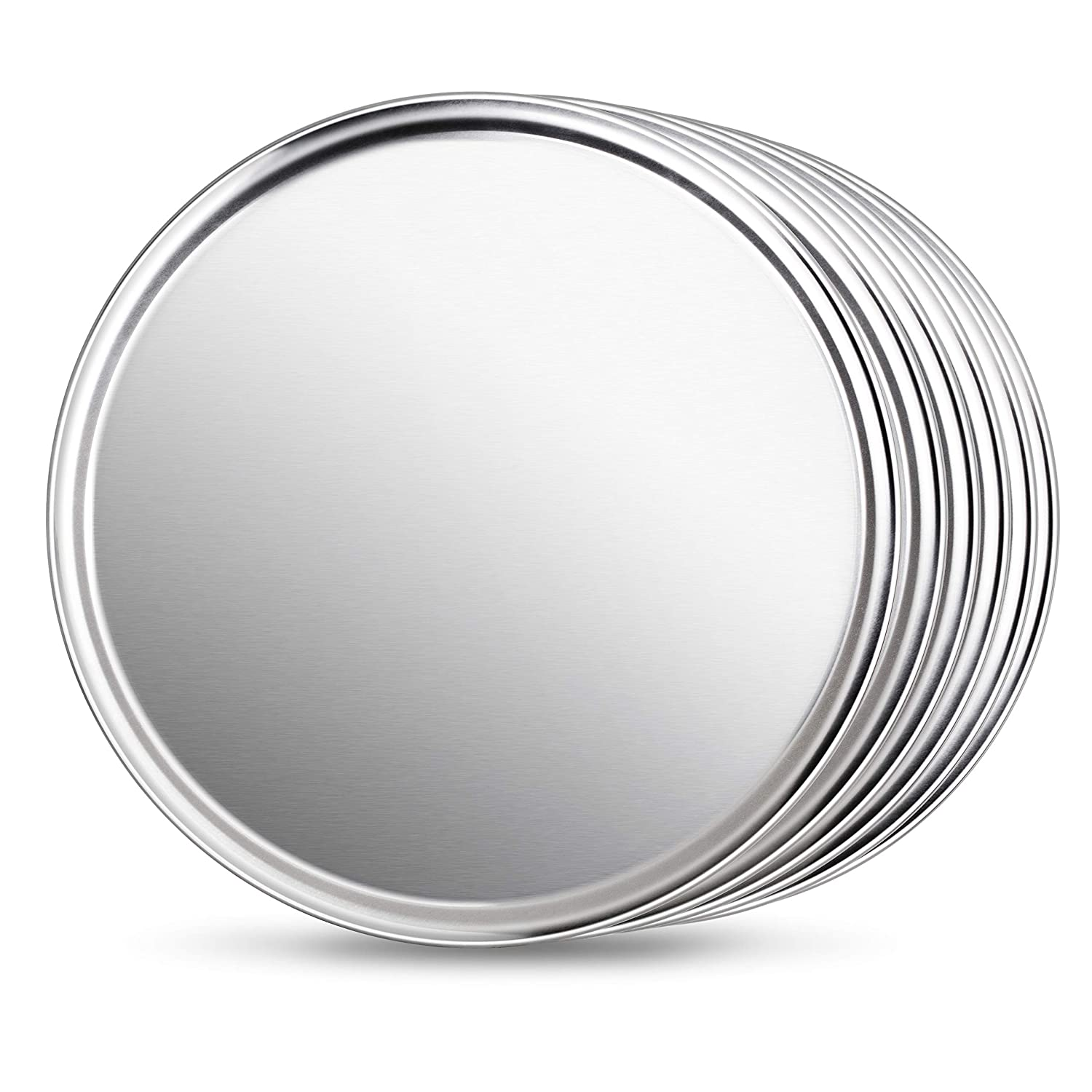 New Star Foodservice 50912 Pizza Pan Tray, Wide Rim, Aluminum, 18 Inch, Pack of 6