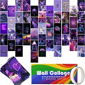 Wall Collage Kit,Purple Cute Wall decor for bedroom Aesthetic Posters for Teen Girls and Boys,Asthetic Wall Images Photo Prints for Room Dorm,Neon Photo Collections Collage Decors 50 Set 4x6 Inch