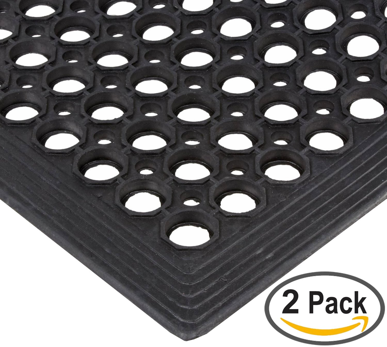 Safewalk-Light Rubber Anti-Fatigue Drainage Mat, for Wet or Dry Areas, 36'' Width x 60'' Length x 1/2'' Thickness, Black (Pack of 2)