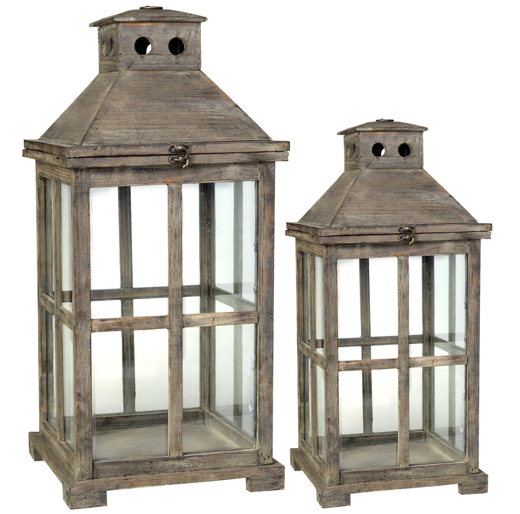 Established 98 20748 Wooden Lantern, Set of 2,