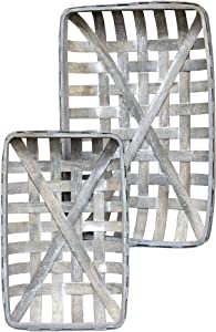CWI Gifts Gray Rectangle Tobacco Baskets 2/Set, Multi