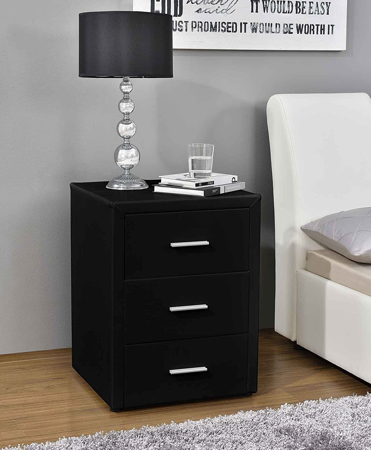 excellent milan nuit support tiroirs table de chevet en simili cuir en noir marron ou blanc par. Black Bedroom Furniture Sets. Home Design Ideas