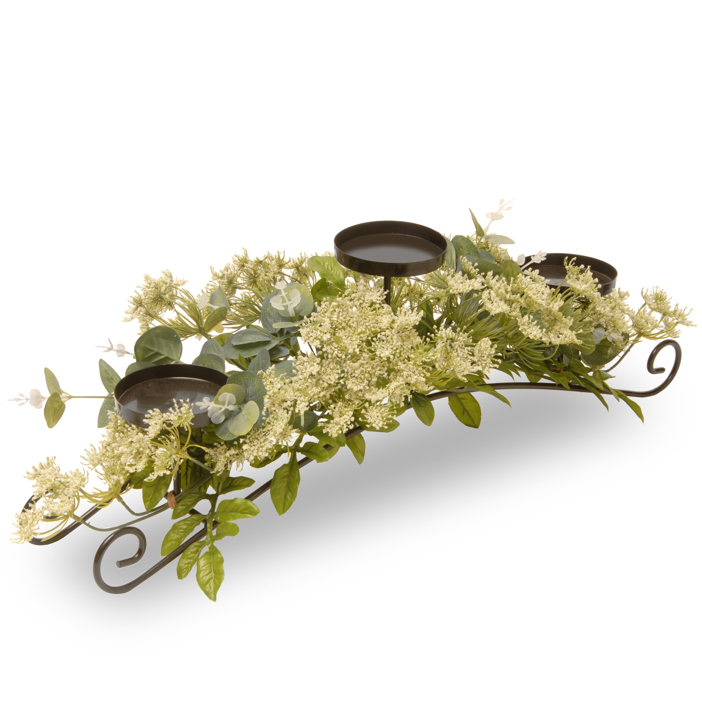 National Tree 25 Inch 3 Candleholder Metal Frame with Dill Flower Blossoms (ED3-112-25C-B)