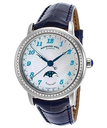 ca728aae5 Amazon.com: Raymond Weil 2739-Ls3-05909 Women's Maestro Moonphase Auto Dark  Blue Genuine Alligator Mop Dial Watch: Watches